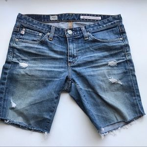 ADRIANO GOLDSCHMIED AG DISTRESSED JEAN SHORTS 26